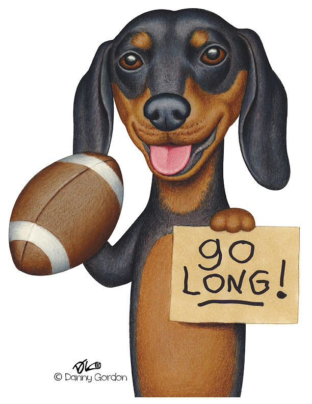 Football Doxie Art With Images Dachshund Lovers Dachshund Dachshund Art