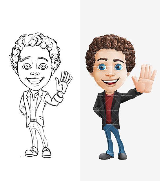 Curly Boy Cartoon Character Set Dengan Gambar Gambar