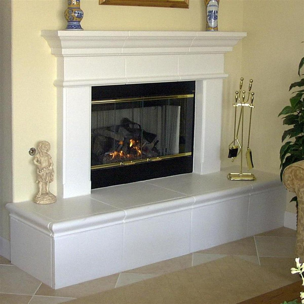 fireplace raised hearth updated with wood trim - Google Search ...