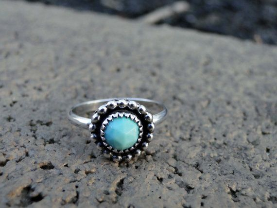 Turquoise Ring, Turquoise Stacker Ring, Stacker Ring, Sterling Silver, Genuine Turquoise, Faceted Turquoise, Made to Order, Gemstone Ring