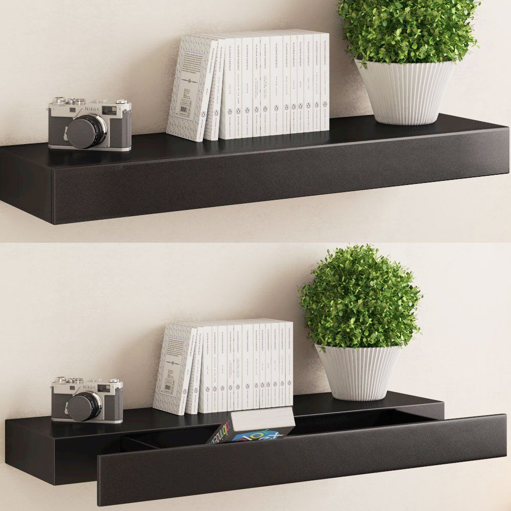 Black Floating Wall Shelf With Drawer Concealed Mounting Bracket