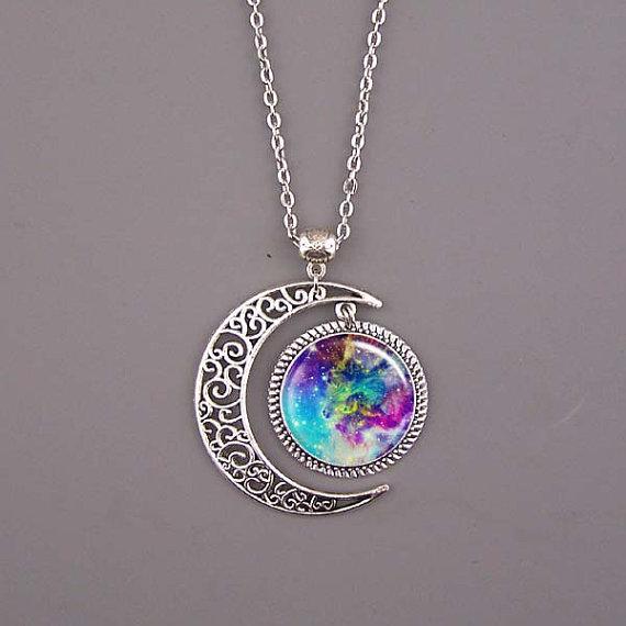 Sun Galaxy Nebula Space Antique Silver Pendant Necklace Friendship BFF Necklace