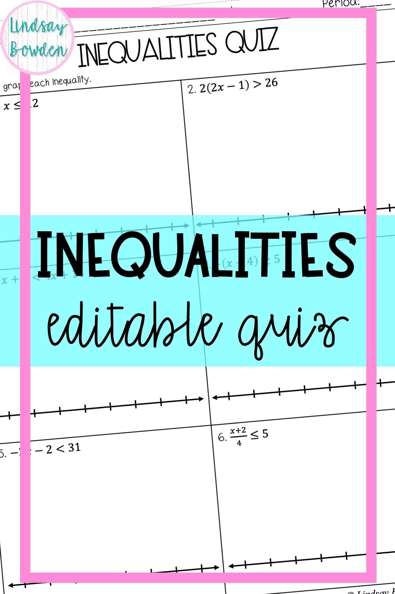 Inequalities Quiz Graphing Inequalities Word Problems Inequality Word Problems