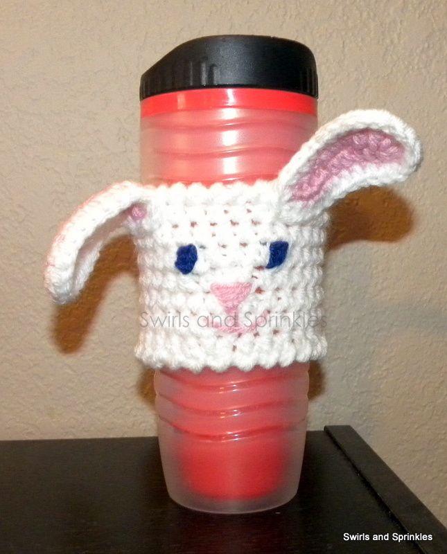 Bunny crochet coffee sleeve