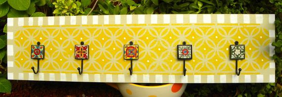 Wall Hanger Five Colorful Decorative Tile Hooks By Zdesignworld
