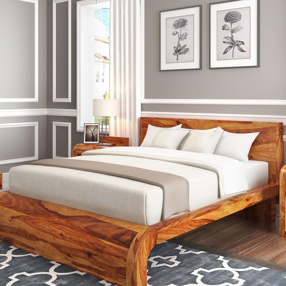 Rebecca Solid Wood Curved Platform Bed Solid Wood Platform Bed