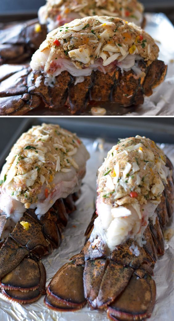 Crab & Bacon Stuffed Maine Lobster Tails #lobstertail