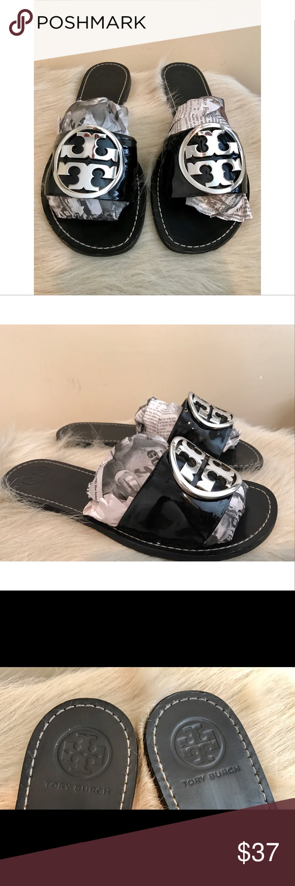 Tory Burch Black Patent Leather Slides....Sz 8 Very cute Slides......the size rubbed off but a size 8.....Fast shipping....Enjoy Tory Burch Shoes Sandals