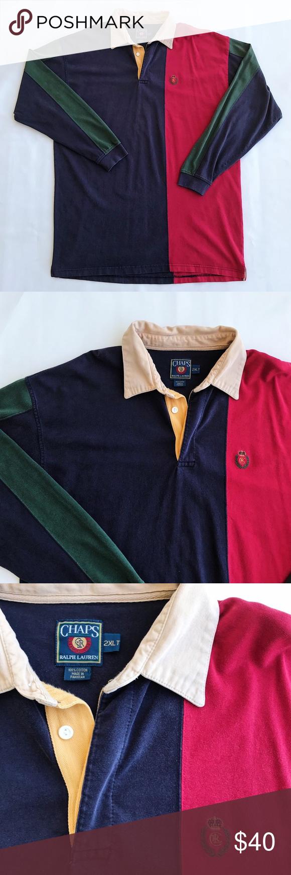0d7b3081e66 VTG 90s Ralph Lauren Chaps Color Block Rugby Polo Vintage 90s Chaps Ralph  Lauren Colorblock long sleeve rugby shirt. Men's size 2XLT.
