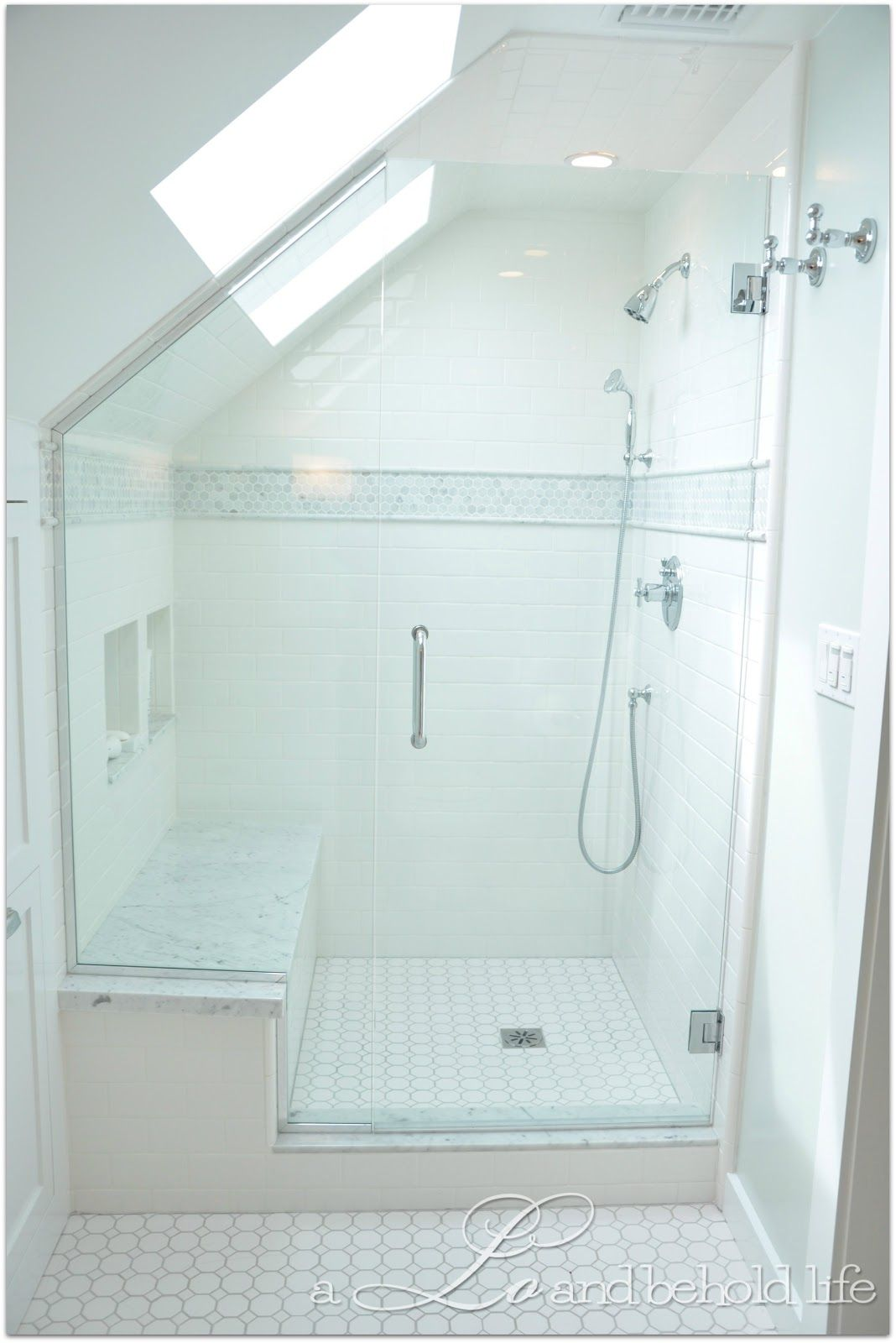 Frameless Dormer Shower with skylights via a LO and behold life ...