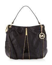 V1GVH Michael Kors Newman Medium Shoulder Bag, Black