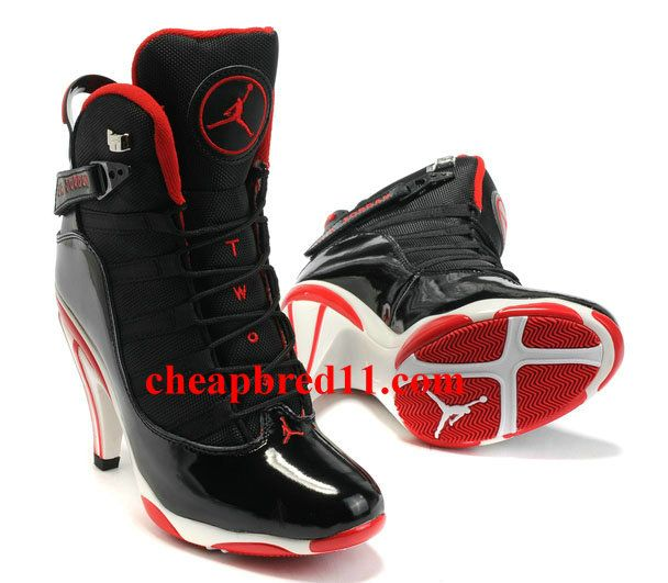 Magic Cheap Girls Air Jordan 6 Retro High Heels Black Red For Sale.
