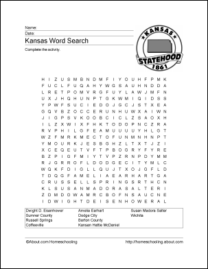 Kansas day coloring pages for kids ~ Kansas Wordsearch, Crossword Puzzle, and More | Kansas Day ...