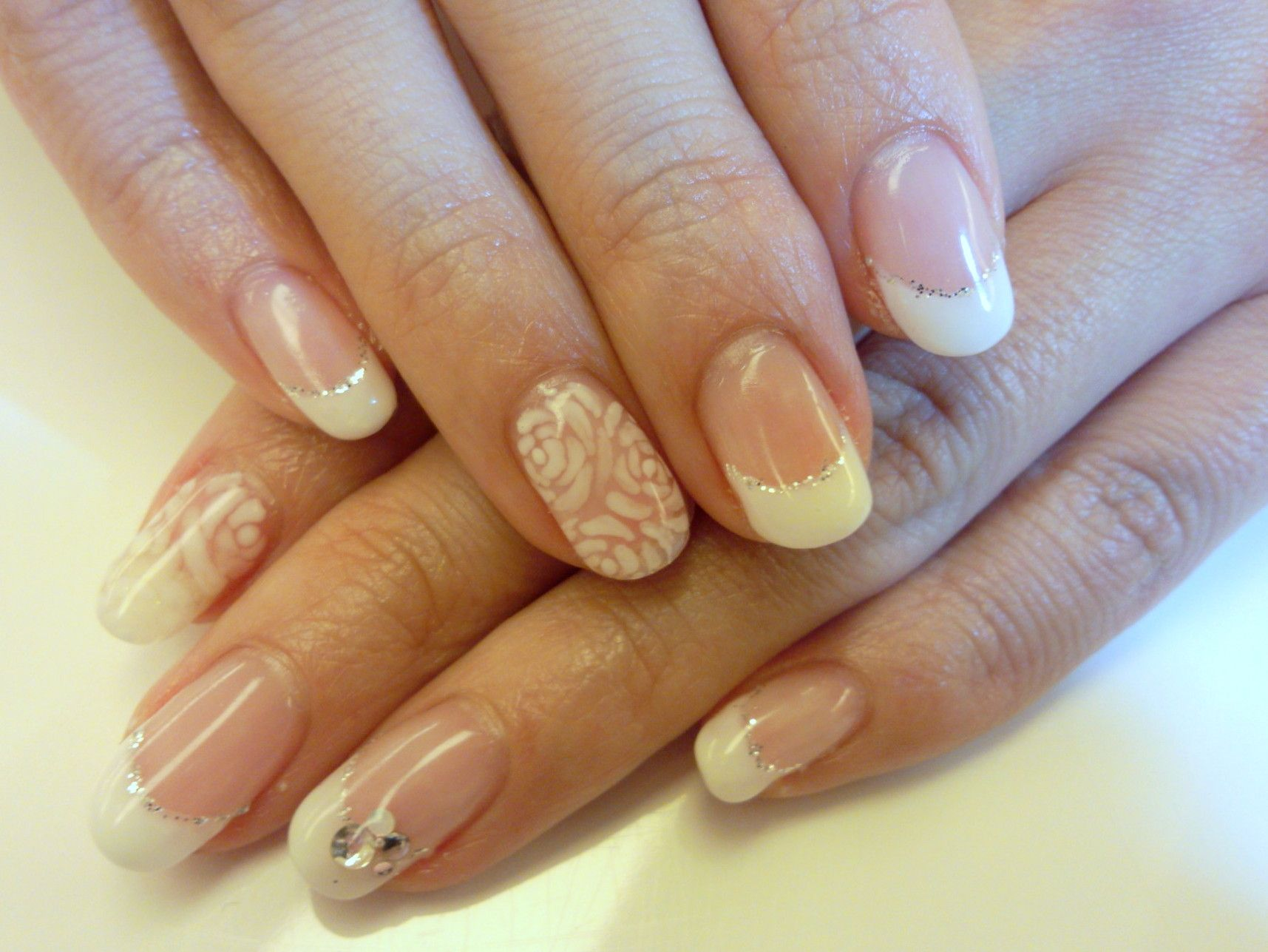 Classy glitter band French manicure bridal gel set with crystals and ...