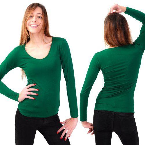 Damen Langarmshirt V-Auschnitt Gr. S - XXL Neu Longsleeve Body Top T-Shirt Basic viele Farben Grün M