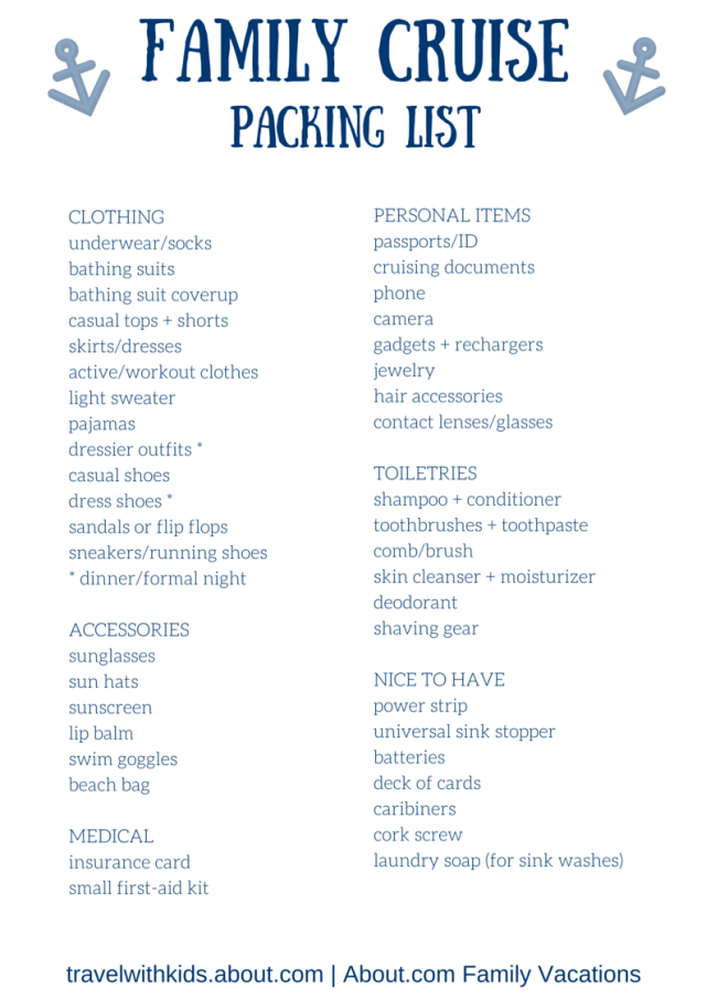 Free Printable Packing List for Family Cruise Vacations | Cruise ...