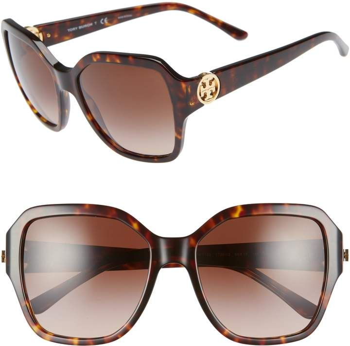 62f5b3300c32 Women's Tory Burch Reva 56Mm Square Sunglasses - Black/ Brown ...