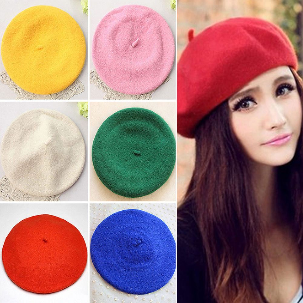 8a7a14aae11 Classic Solid Color Winter French Style Beret Artist Hat Casual Women Cap  Clever