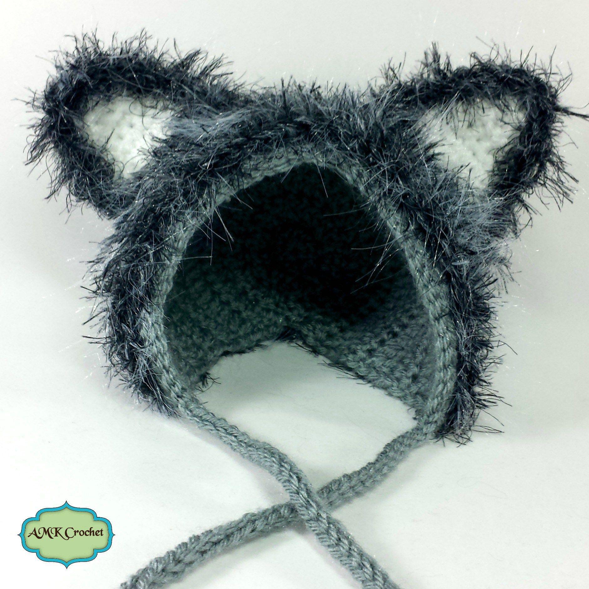 Crochet Newborn Bonnet Style Wolf Hat Pattern by AMKCrochet.com ... 3cc94d614bc