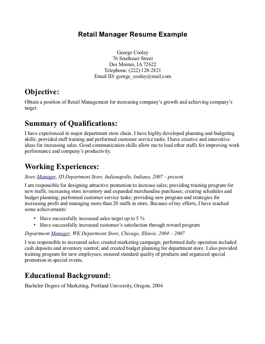 Resume Objective For Retail Retail Manager Resume Example  Retail Manager Resume Example We