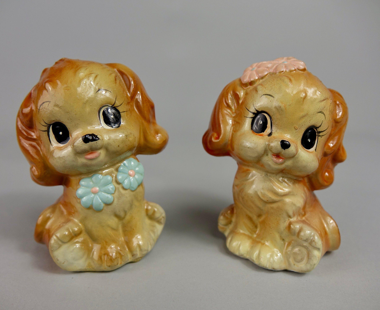 Ceramic Boy/Girl Kewpie Puppy Salt And Pepper Shakers Hong
