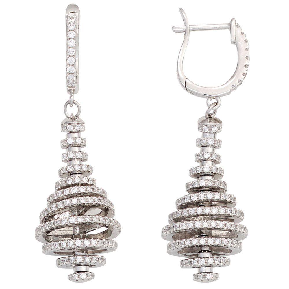 Creolen 925 Sterling Silber mit Zirkonia Ohrringe Ohrhänger Silberohrringe  http   www.ebay fa360c7c98