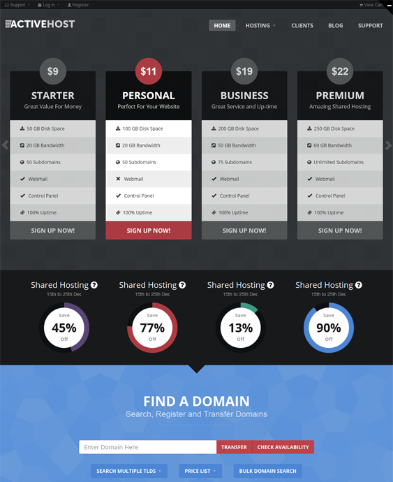 This web hosting WordPress theme features a WHMCS order