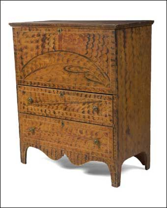 Fine Vermont Federal Yellow Painted And Fancy Decorated Two Drawer Blanket Chest American