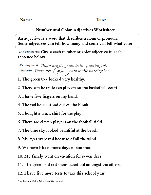 Number and Color Adjectives Worksheet Part 1 | Adjective ...