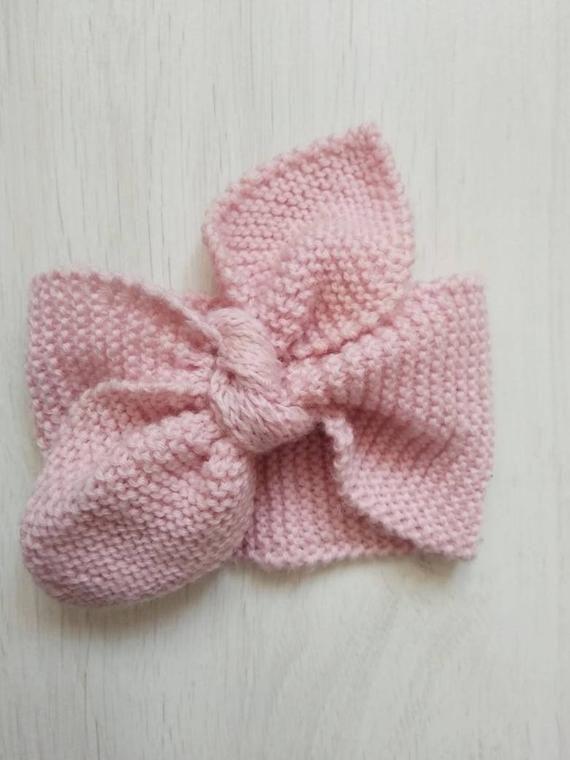 Baby knit headband. Pink baby headband. Knitted baby ...