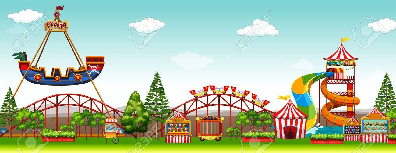 Stock Photo In 2019 Backgrounds 乗り物 イラスト 遊園地 シーン
