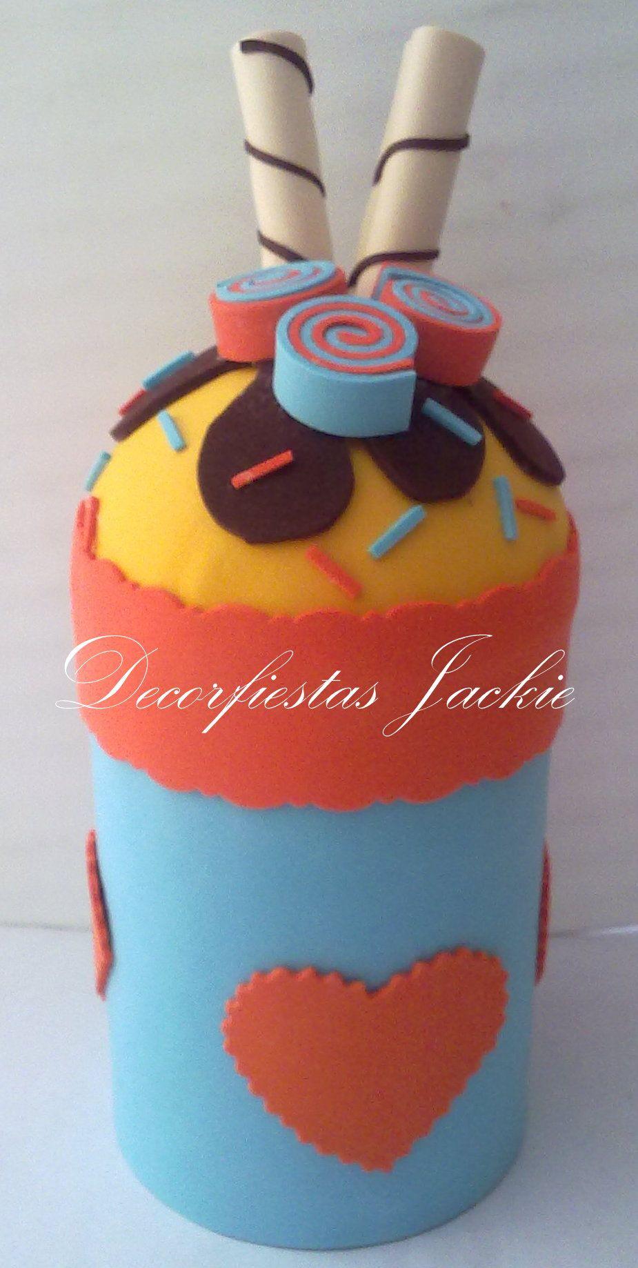 Tarro decorado con fomi alcancias pinterest fomi for Botes de cocina decorados con goma eva