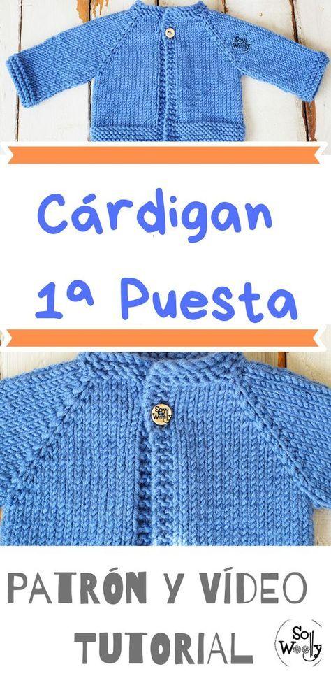 Cardigan Raglan primera puesta tejido en dos agujas