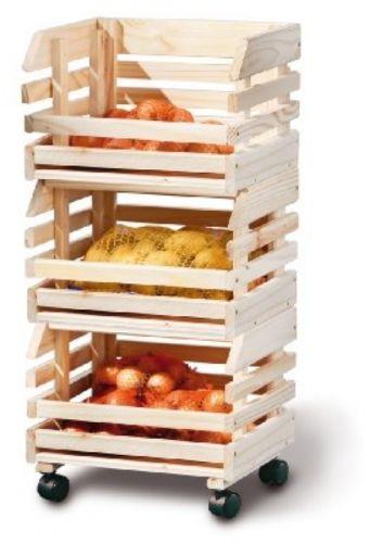 3 Tier Fruit Box Trolley Wooden Vegetable Storage Crate Multi Purpose Rack Furniture Wheels Vegetable Storage Wood Crates