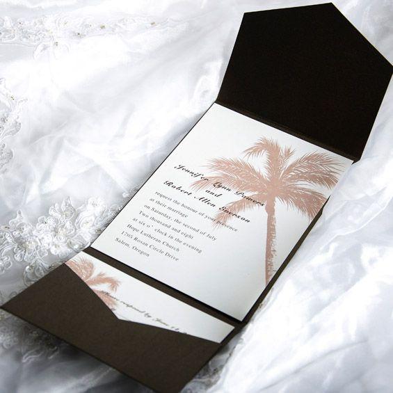Elegant Tropical Pocket Wedding Invitation Sets EWPI005