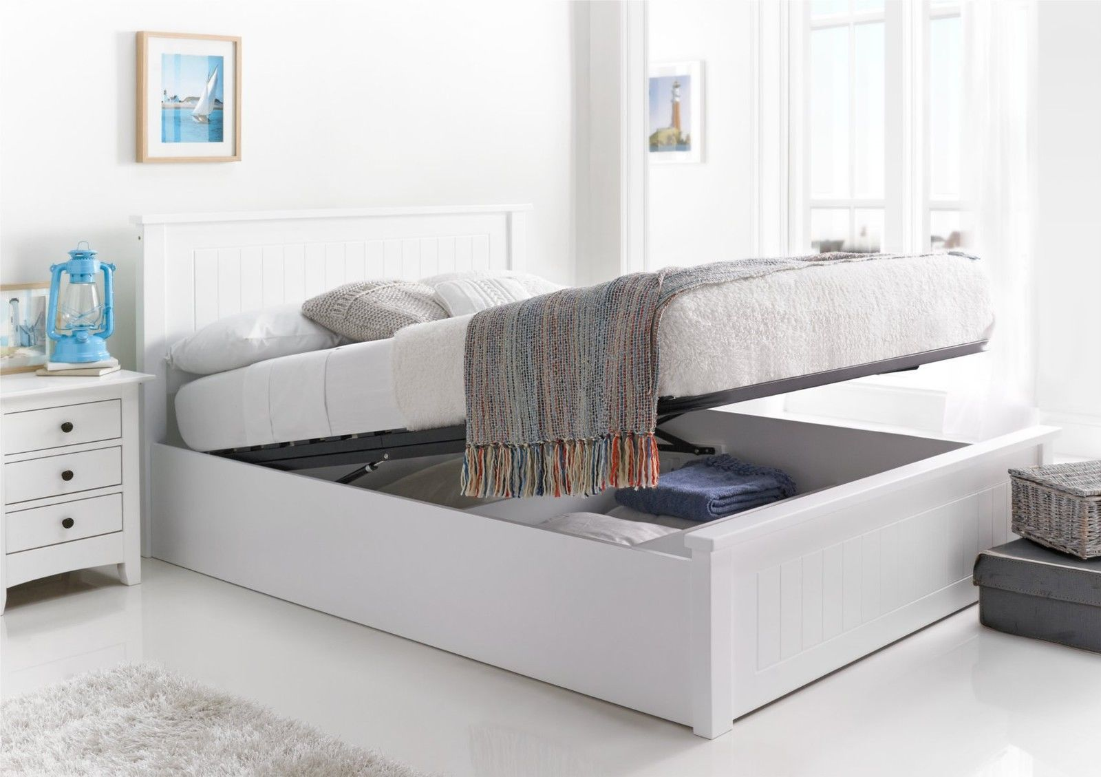 new england white wooden ottoman storage bed double ottoman only in home furniture u0026