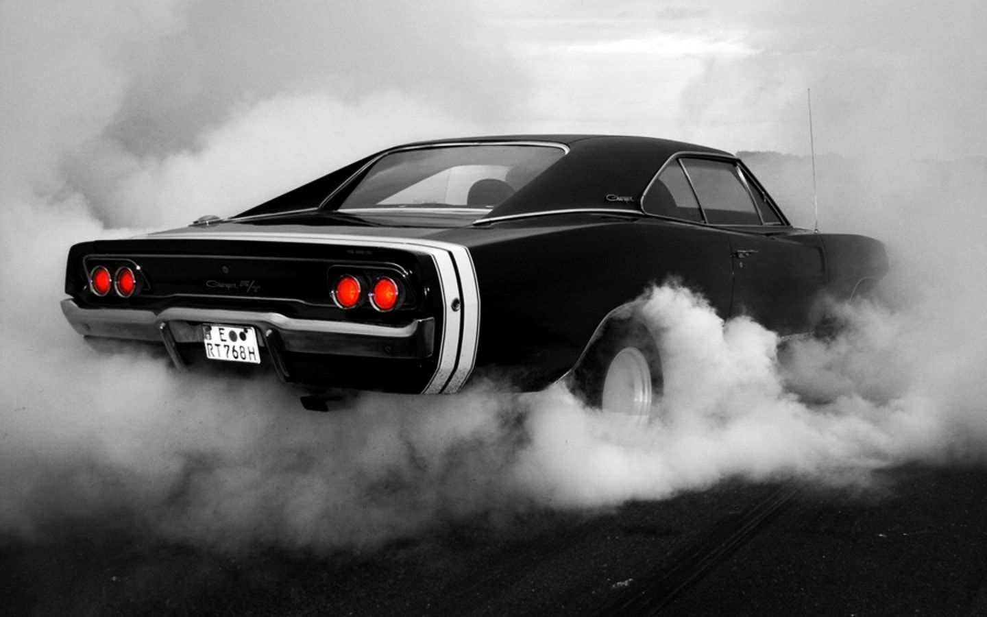 Monochrome Dodge Charger Burnout Smoke Muscle Car Tuning Con