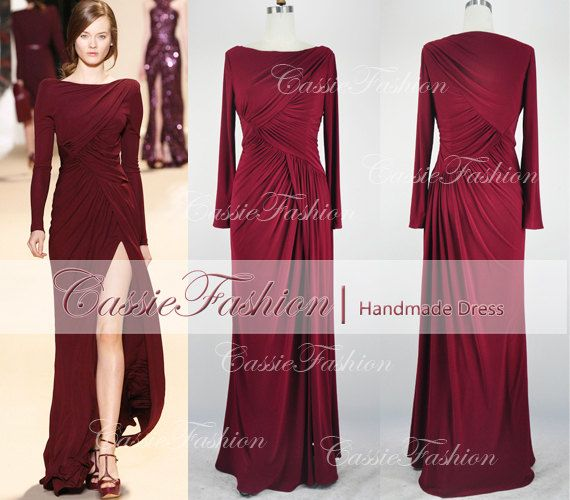 long sleeve floor length draped prom dress bridesmaid. Black Bedroom Furniture Sets. Home Design Ideas