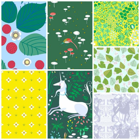 Fat Quater Bundle  Forest Meadow Colorway of by FabricCadabra