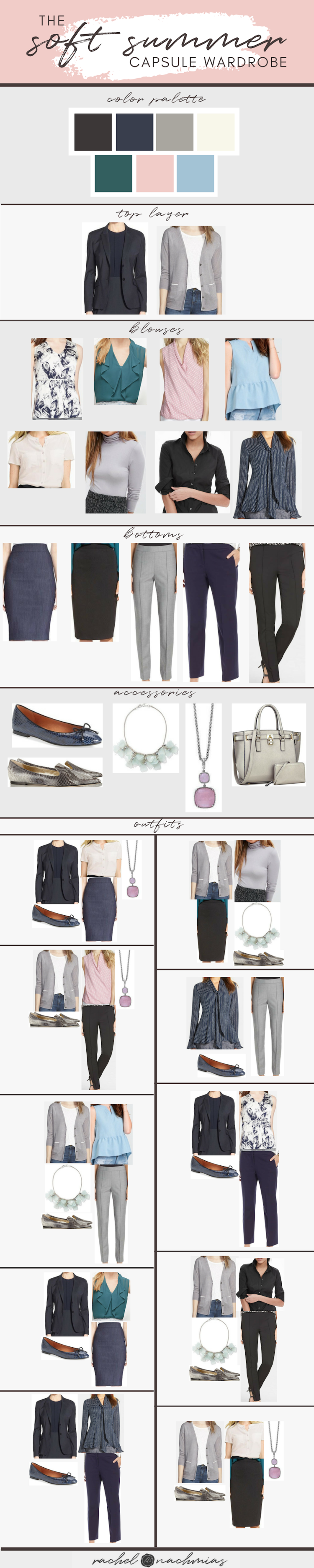 A concept for a Professional Capsule Wardrobe in Soft Summer colors. More info in
