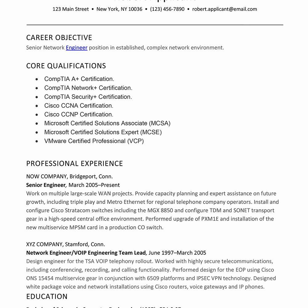 Network Engineer Resume Examples Lovely Sample Resume For Experienced Network Engineer Network Engineer Resume Examples Job Resume Samples
