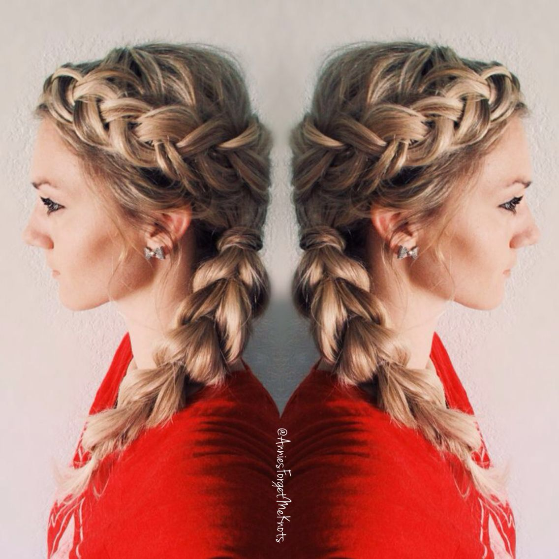 How To Dutch braid on top french braid wrapped around the bottom