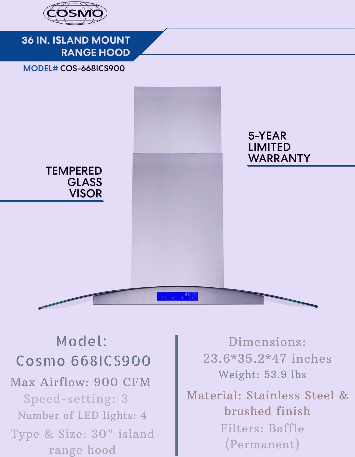 Cosmo 668ics900 Island Mount Range Hood In 2020 Island Range Hood Range Hood Range Hood Reviews