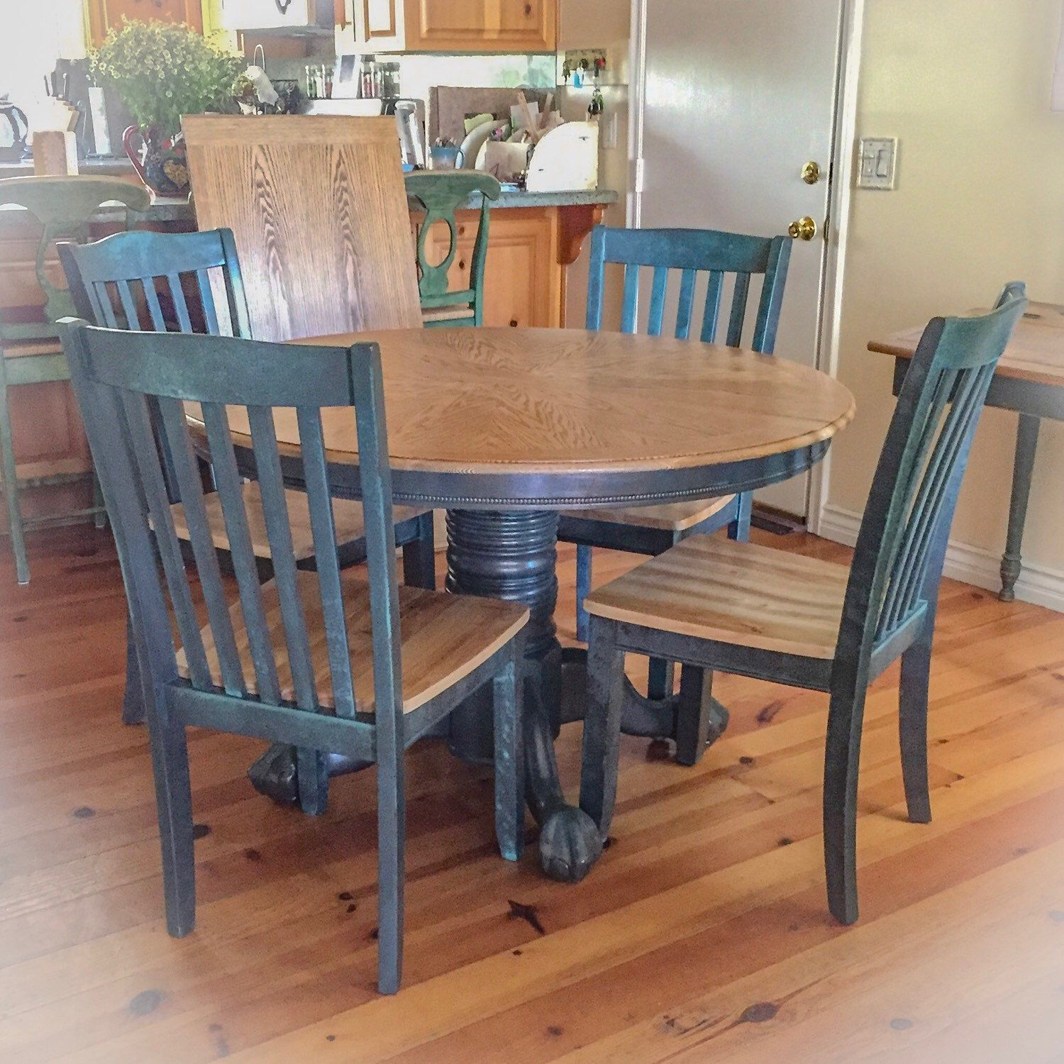 Farmhouse Kitchen Table And Chair Set Done In Patina Rusted