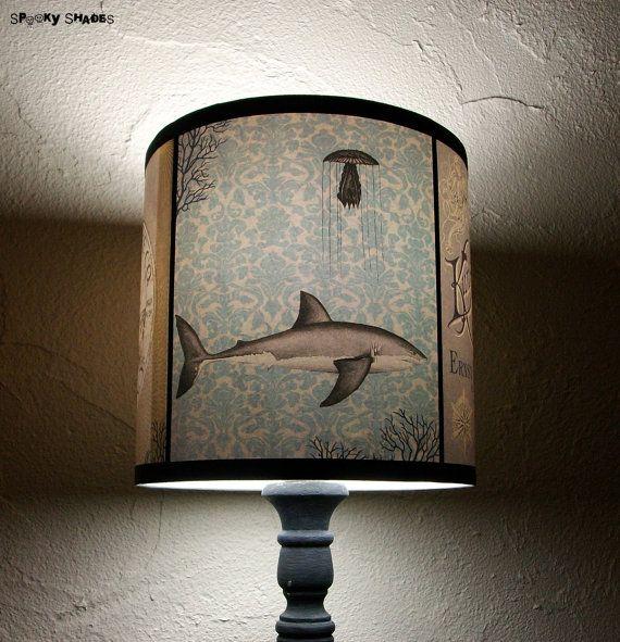 Underwater Creatures lamp shade lampshade - lighting, boho, bohemian decor, damask, vintage lettering, octopus, shark,merdmaid,Spooky Shades