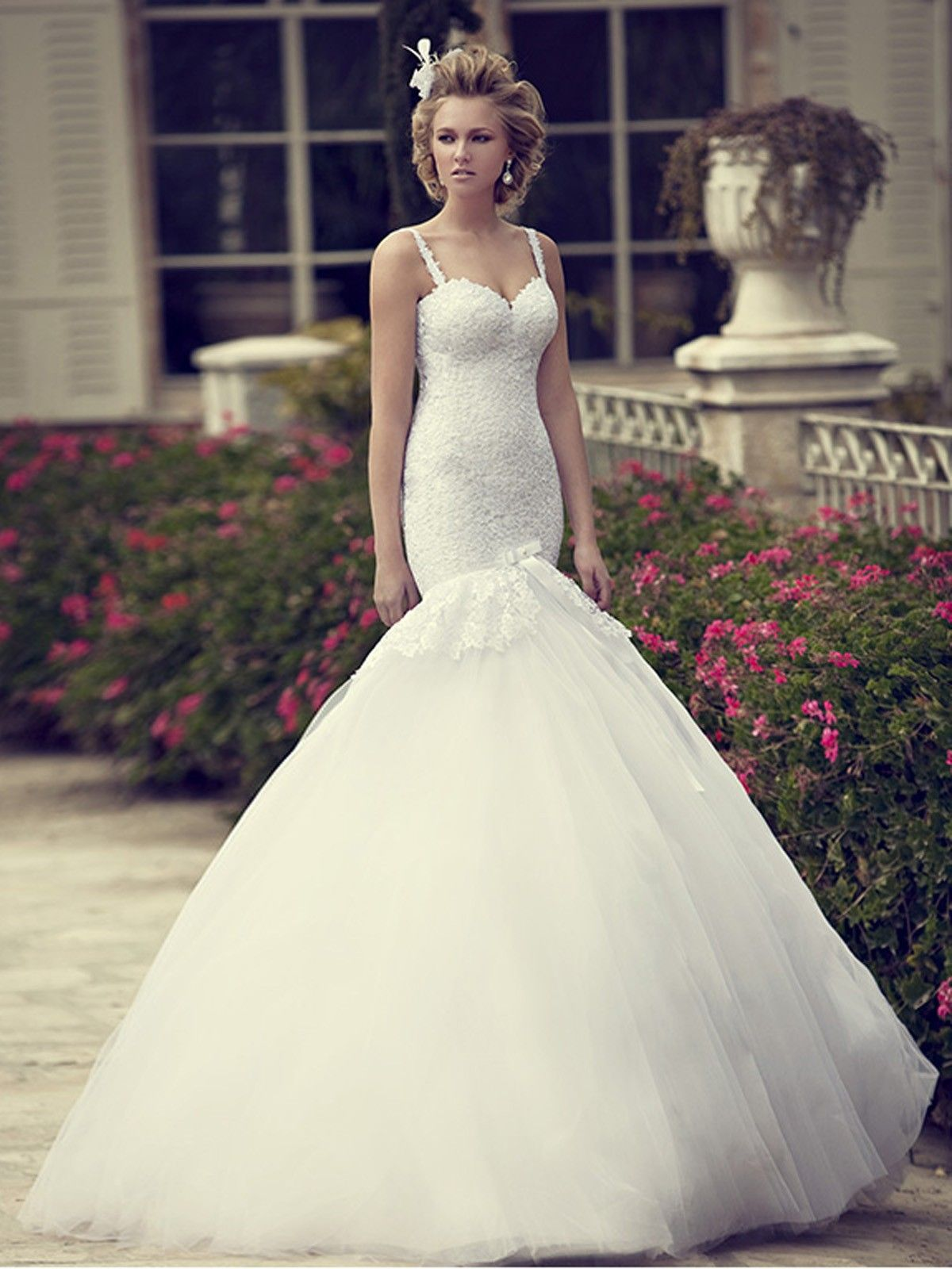 Spaghetti Strap Trumpet Wedding Dress