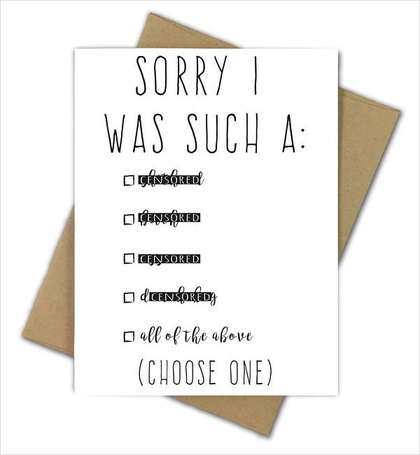 14 Funny Sorry Card Designs Templates Psd Ai Free Intended For Quality Sorry Card Template Sorry Cards Card Template Im Sorry Cards
