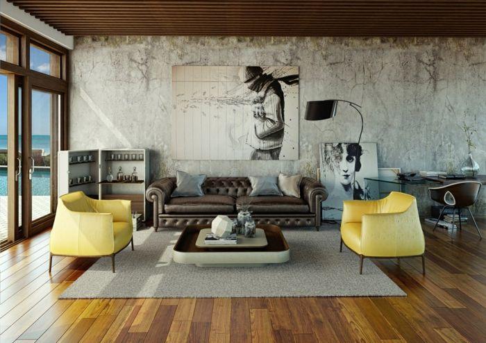 Schöne Wohnideen Urban Wohnzimmer Mit Gelben Sesseln