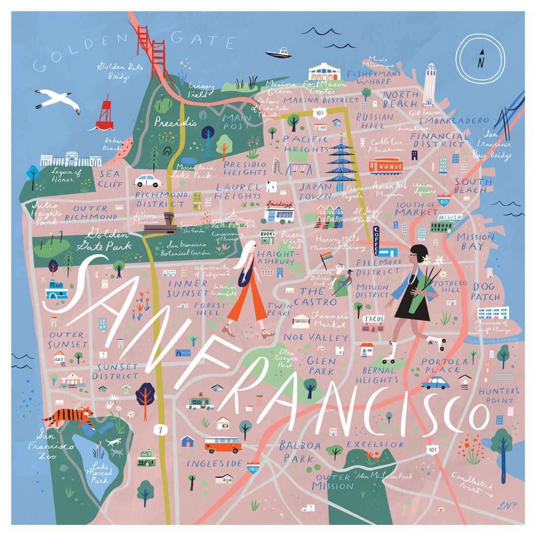 photo relating to San Francisco Maps Printable referred to as San Francisco Illustrated Map Print, 12\