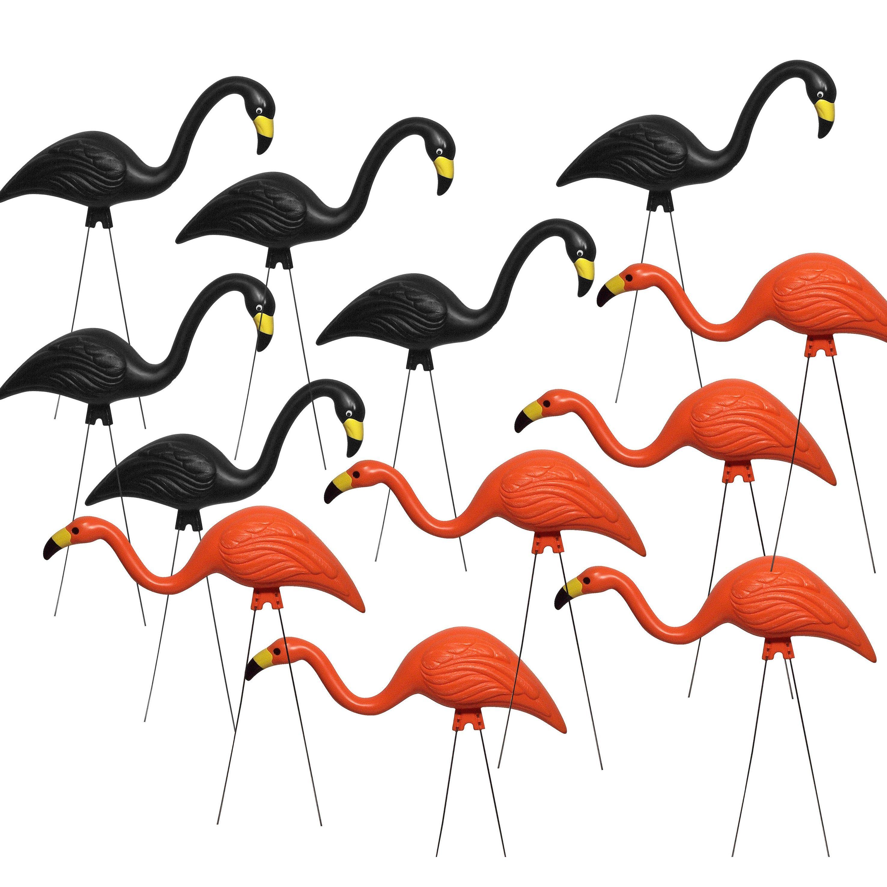 Bloem Y Orange And Black Flamingo Garden Decor 12 Pack Plastic Outdoor Décor